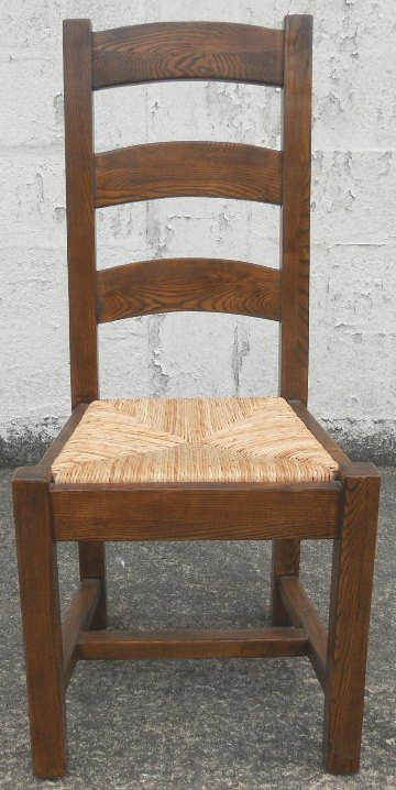 Sold Set Of Eight Heavy Oak Ladderback Rush Seat Country